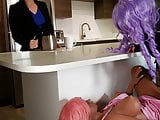 Horny Sex Doll Fucks Students Strapon Behind Counter