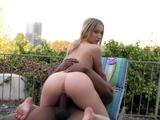 Blonde cuckolds outdoors