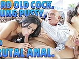 OLD4K. Tender creature Mira has unexpected anal sex with old