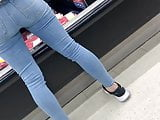 Blonde teen tight pants and pussy gap cont.