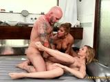 Threesome massage and sex