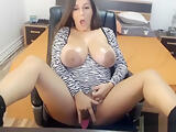 Huge natural tits and big nipples and vibratoy on webcam