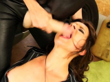 Sexy sweetheart gets down and sucks a big fake dick wildy