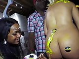 Naked presenter Jenny gets her big Latina butt painted on TV