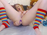LITTLE Girl with Anal Bead Stuffed Ass Cumming