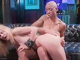 Busty ebony lesbian dom otk spanks babe