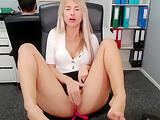 She masturbates in front of his boss