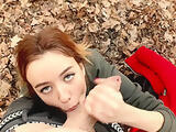 Slobber blowjob in the park (Ahegao 60fps 1080HD Public Cumshot sloppy BJ)
