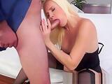 Alluring milf fingering her cunt before bj