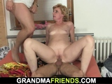 Small titts mature blonde enjoys double penetration