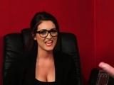 British voyeur babe teases guy while wanking