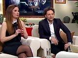 Long legs in black pantyhose on TV 13