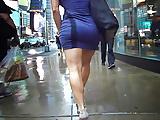 tight minidress sliding on strong legs