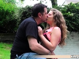 Troubled petite teen fucked by horny old man in a park