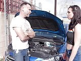 My girlfriend at the mechanic