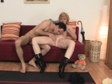 He picks up skinny old blonde woman for play