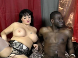 Granny sucks black cock in threeway