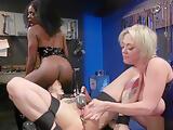 Three lesbians anal fuck in workshop