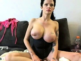 tattoed brunette with giant tits