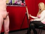 Busty british voyeur instructs sub in tugging