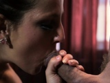 Lewd brunette barely legal minx Alice Green blowing well