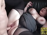 UK babe with big boobs gets her fat ass spanked during sex