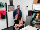 Teen thief deep throating a thick cock!