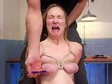 Master made brunette to fuck big dick