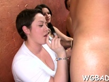 Lovely hotties are gratifying stud with wet blowjobs
