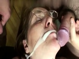 Mature double penetration threesome fuck ends with facial