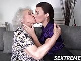 Young chick and senior woman are two nasty lesbian girls
