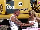 German amateur Milf slut get outdoor creampie in standing