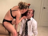 Blonde babe loves to whip a dude really hard
