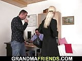 Blonde skinny granny swallos to cocks for job