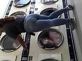 Juicy ass Latina washing clothes.