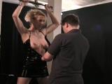 Sexy floozy is masturbating after dinner