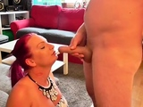 Redhead masseuse sucks cock and gives handjob in hd