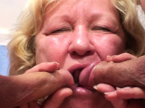 Big boobs blonde granny double blowjob and fuck