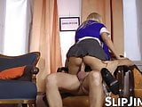 English babes have their pussies nailed doggy by an old gent