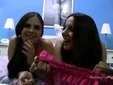 Brunette has lesbian fun with lesbian Polli