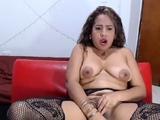 Busty ebony camgirl in lingerie