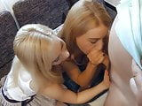 Two young blondes fuck oldman