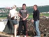 Cute little blonde girl public construction site public sex