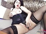 Busty Brunette Handjob Dick and Masturbate Pussy Toy