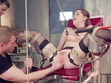 Brunette is fisted and fucked threesome