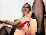Amazing teacher in stockings pleasures her juicy cunt