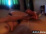 Handjob by girl, building up to a big cumshot.