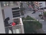 Black couple sex on the balcony in corovavirus time