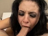 Ambitious brunette girl blows like a champ