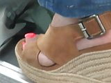 Candid MILF with sexy toenails in wedges heels (pt2)
